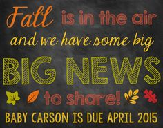 Fall Chalkboard Pregnancy Announcement Pregnancy Reveal Fall Announcement Fall Pregnancy