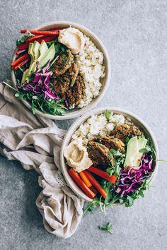 A recipe for Cauliflower Falafel Power Bowls from Kelli Foster's Buddha Bowls: 100 Nourishing One-Bowl Meals.