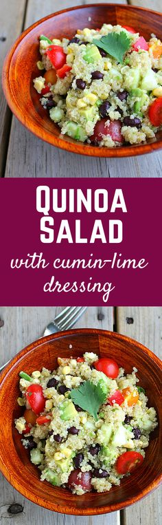 This Quinoa Salad with Cumin-Lime Dressing is sure to become a summertime favorite with its unique dressing! Salad Dressing Recipes, Salad Recipes, Farro Recipes, Vegetarian Recipes, Cooking Recipes, Healthy Recipes, Healthy Salads, Healthy Eating, Lime Dressing