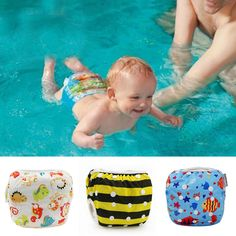 Lovely Creative Cartoon Baby Swim Diaper Washable Diapers Yellow Fish