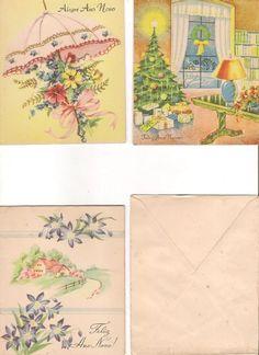 Vintage Cartões De Natal Anos 50 - R$ 20,00 em Mercado Livre