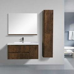 This is one of the most elegant modern bathroom vanities around. This model comes with a reinforced acrylic sink, marine veneer constructed console that is fully moister and waterproof, with high-quality Eu Best Bathroom Vanities, Single Bathroom Vanity, Modern Bathroom, Japanese Interior Design, Decor Interior Design, Interior Decorating, Wooden Bathroom Cabinets, Japanese Bathroom, Sink Design