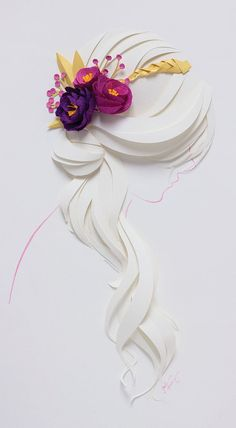 Long Curls Print from Jackie Huang Studios Simple and elegant. This piece strives to capture the serenity of the moment. Print size: 13 x 19 Note: This is a reproduction of an original paper illustration Kirigami, 3d Paper Art, Diy Paper, Paper Crafts, Paper Artist, Arte Quilling, Paper Quilling Designs, Quilling Letters, Quilling Jewelry