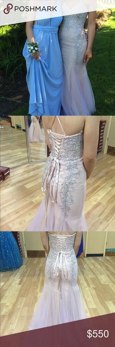 """Mermaid Prom Dress Light pink & fades to purple at the bottom with Swarovski crystals. Some alterations made for height. I'm 5'6""""/7"""" and I wore flats. No damage, only worn once & paid full price for it! Dresses Prom"""