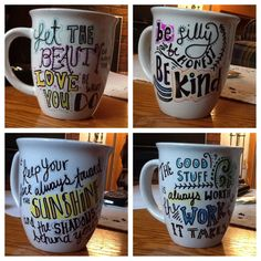 Sharpie mugs! Draw- Bake at 350 for 15 minutes- enjoy! Love this idea for a special cup for my coffee. Sharpie Projects, Sharpie Crafts, Sharpie Pens, Diy Sharpie Mug, Sharpie Doodles, Crafts To Make, Fun Crafts, Mug Art, Diy Mugs