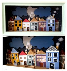 Night time. Little houses made from recycle wood.