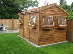 This x Beach House storage shed from Cedarshed® makes a great backyard retreat. The six-awning style windows allow plenty of fresh air and lig. Storage Shed Kits, Wood Storage Sheds, Garden Storage Shed, Wood Shed, Firewood Storage, Building A Shed Roof, Building Ideas, Building Design, Shed Blueprints