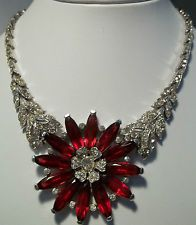 Vintage Trifari Rhinestone Necklace HUGE Ruby Flower Philippe 1940s