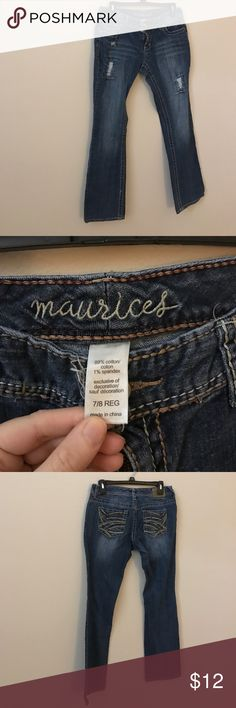 Maurices super distressed bootcut jeans cute 7/8 Euc Maurices Jeans Boot Cut