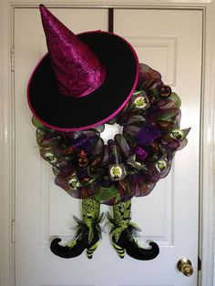 halloween wreaths | Halloween Witch Deco Mesh Wreath on Etsy, $70.00