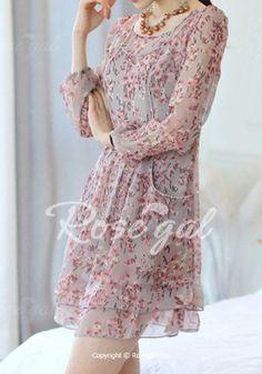 Sweet Scoop Neck Floral Print Chiffon Long Sleeve Women's Dress - GRAY L Mobile