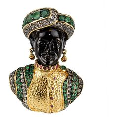 Pre-owned Blackamoor Ruby Emerald Gilt Sterling Designer Brooch Pin... ($1,850) ❤ liked on Polyvore featuring jewelry, necklace enhancers, necklaces, antique emerald jewelry, antique button jewelry, druzy jewelry, vintage style jewelry and pendant jewelry