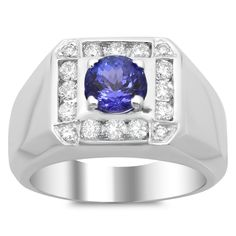 Artistry Collections 14k White Gold 1ct TDW Diamond and 2ct TGW Tanzanite Ring