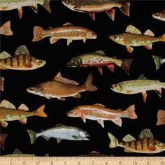 Norman Rockwell Vintage Fish Black from @fabricdotcom  Designed for Timeless Treasures, this cotton print is perfect for quilting and craft projects as well as apparel and home décor accents. Colors include brown, green, grey and black.