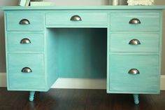 annie sloan provence desk remodel, chalk paint, diy, home improvement, painted furniture, painting