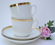 2 Vintage White & Gold Teacups Haviland Limoges by SimplyChina, $22.00