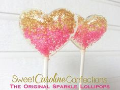 Hot Pink and Gold Ombre Lollipops, Hard Candy Lollipops, Candy Lollipop, Wedding Lollipop, Sweet Caroline Confections -Set of Six by SweetCarolineConfect on Etsy https://www.etsy.com/listing/196105265/hot-pink-and-gold-ombre-lollipops-hard