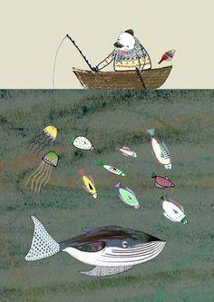Ashley Percival poster beer gaat vissen.