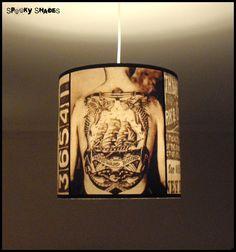 Vintage Tattoos hanging lamp shade lampshade - victorian light ...:Vintage Tattoos hanging lamp shade lampshade - victorian light, tattoo  parlour decor, drum lamp shade, pendant light, black and white,Lighting