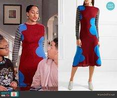 Rainbow's red and blue sweater dress with striped sleeves on Black-ish. Outfit Details: https://wornontv.net/88932/ #Blackish