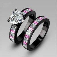 Wish | Heart Colorful princess cut AAA cz stone engagement ring wedding band set 18k black gold plated