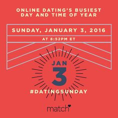 #ad If finding love is your new year's resolution, the best day to get out there is around the corner. According to Match, singles looking to find their mate in the new year should scout out dating profiles on National Online Dating Day, the proven busiest moment for online dating. Happening every year on the first Sunday in January, the exact time down to the minute this year is 8:52pm ET on Sunday, January 3th.