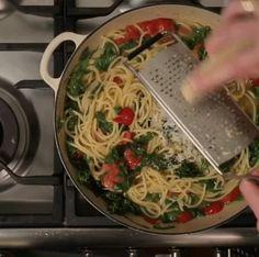 Kale, Tomato and Lemon Zest Spaghetti