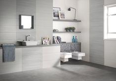 Collezione Dress Up: piastrelle per bagno in pasta bianca. Colori: white and pearl. Decoro: stripes. Formato unico: 25x75 #rivestimentibagno