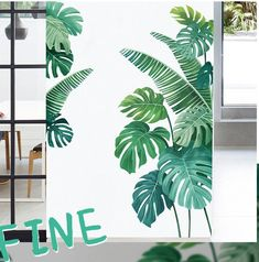 Tropical Home Decor, Tropical Houses, Jungle Theme Decorations, Pvc Wall, Plant Wall, Wall Stickers, Wall Murals, Vines, Wall Decor