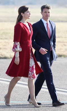 Love Princess Mary of Denmark coat and floral dress. Handsome husband, Prince Frederick of Denmark.