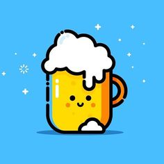 #beer #friends #snapshot #brand #character #talk #illustration #happy #cute #like #heart #happyface #designer #ghost #aww #ui #instafood #food #hope #line #cutest #mbe #logo #logo #yelow #blue #pixel #artoftheday #brand by@madebyelvis
