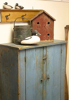 Painted Cupboard  Mid 19th century cupboard, original paint; early 1900's birdhouse; antique decoys, Maine, carver unknown