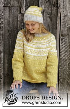 Lemon Pie / DROPS - Free knitting patterns by DROPS Design Lemon Pie / DROPS - Knitted sweater in DROPS Karisma. Drops Design, Sweater Knitting Patterns, Knit Patterns, Fair Isle Knitting, Free Knitting, Tejido Fair Isle, Icelandic Sweaters, Pulls, Vestidos