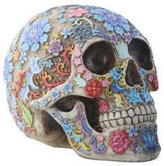 Colorful floral skull  #skulls #humanskull