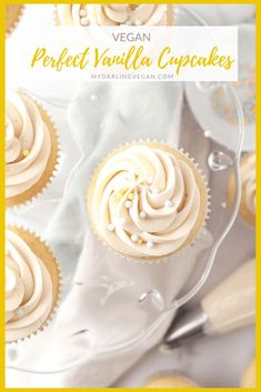 These vegan Vanilla Cupcakes are unbelievably delicate and moist with a touch of sweetness for an easy and delicious cupcake that everyone will love. Vegan Vanilla Cupcakes, Vanille Cupcakes, Yummy Cupcakes, Vegan Cake, Eggless Desserts, Vegan Dessert Recipes, Delicious Vegan Recipes, Cake Recipes, Vegan Pastries