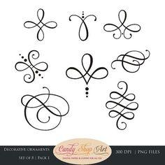 Instant Download - calligraphie ornements, ornements graphiques, mariage clipart, ornements décoratifs, décorations de mariage