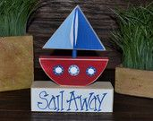 Sail Away Nautical Decor Block Set Nautical Nursery Decor Nautical Baby Shower Decor Nautical Favor Nautical Baby Shower Gift Baby Room Boat