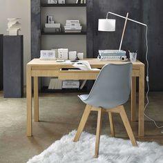 Silla escandinava gris con roble macizo | Maisons du Monde
