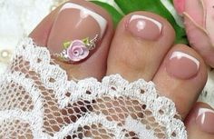 Toe Nail Art, Toe Nails, French Pedicure, Toe Nail Designs, Pedicures, Jewelry, Women, Flower, Simple Toe Nails