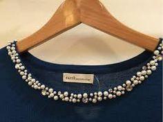 Embroidery On Kurtis, Kurti Embroidery Design, Hand Embroidery Designs, Embroidery Dress, Beaded Embroidery, Seed Bead Art, Woolen Tops, Beaded Brooch, Pattu Saree Blouse Designs