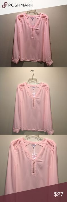 """Candie's blush pink sheer blouse, size XL Candie's blush pink color """"Chintz Rose"""" sheer blouse, size XL. Half zip, with a pretty rose gold zipper and circle zipper pull. Long sleeve or roll tab sleeve. 22"""" underarm to underarm, 25-1/2"""" length, 24-1/2"""" sleeve, 9"""" neck depth. Candie's Tops Blouses"""