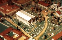 Modern model of ancient Olympia with the Temple of Zeus at the centre File:Model of ancient Olympia.jpg