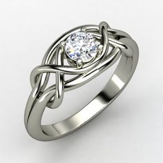 Infinity Knot Ring - Round Diamond Platinum Ring | Gemvara