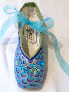Mermaid's Tale ... Decorated Pointe Shoe by JazzedUpPointes