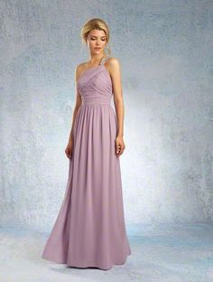 Alfred Angelo Style 8101L: floor length long bridesmaid dress with crystalized one-shoulder strap