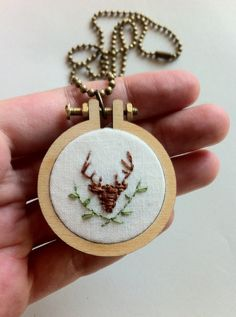 Deer necklace  mini embroidery hoop pendant   by Gluckhandmade