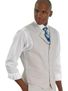 Paul Fredrick Men's Stripe Seersucker Pure Cotton Seersucker Vest Tan 42