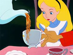 Alice's perfectly poured half cup of tea. | 21 Oddly Satisfying Disney Moments