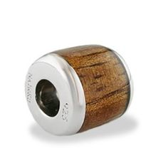 Sterling Silver Barrel Bead with Koa Wood* Inlay - Puka Bead Collection - Collections (Also available; Na Hoku charm bracelets).