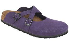Birki's Dorian Lilac Birkibuc Innovative styling, two adjustable buckles, and great comfort make this Mary Jane clog a favorite of ours. The crossed straps placement make this a good style for feet with high insteps. #birkenstock #birkenstockexpress.com  $59